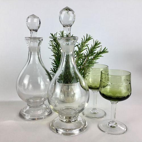 Pair of crystal liqueur decanters