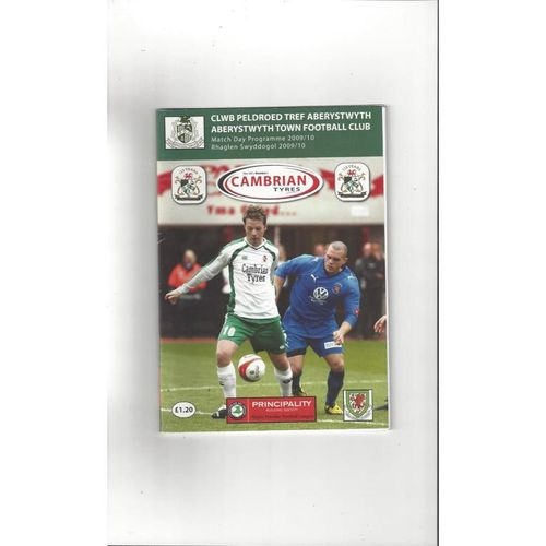 Aberystwyth Town v Wrexham Friendly Football Programme 2009/10