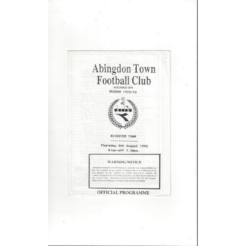 Abingdon Town v Bicester Town Friendly Football Programme 1992/93