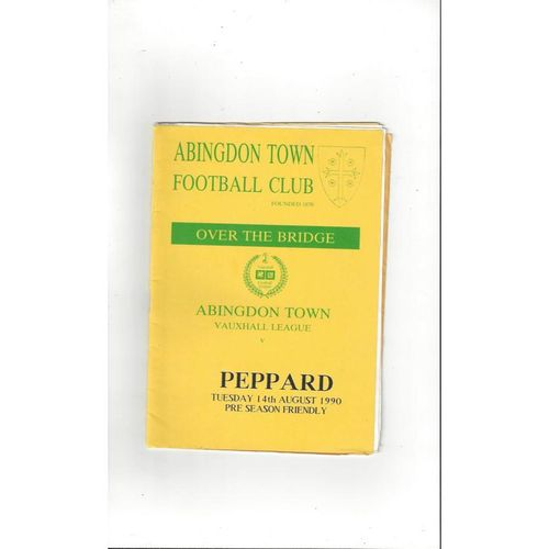 Abingdon Town v Peppard Friendly Football Programme 1990/91
