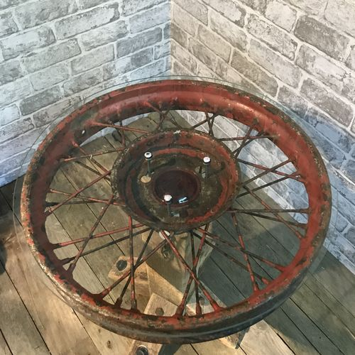 Old Upcycled Wire Wheel Side Table.