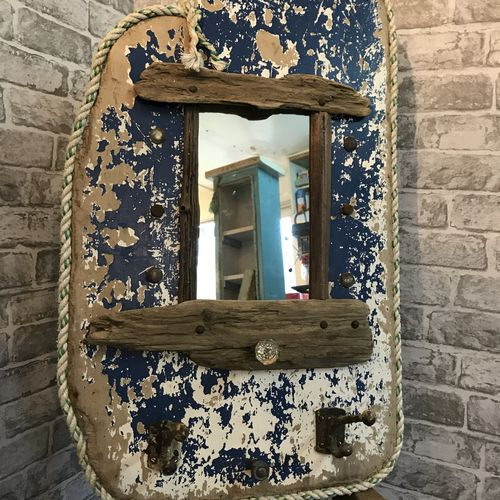 Salvage Boat Board Coat Rack With Mirror.