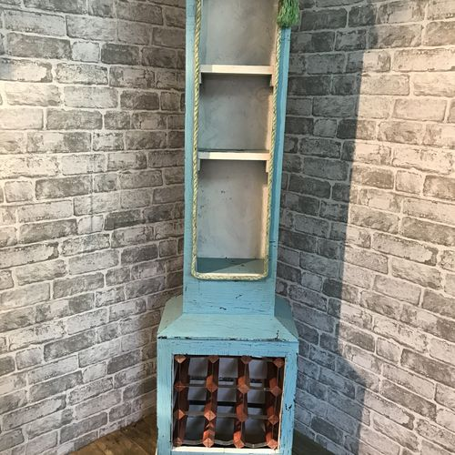 Upcycled Grandfather Clock Wine Rack and Shelf Unit.