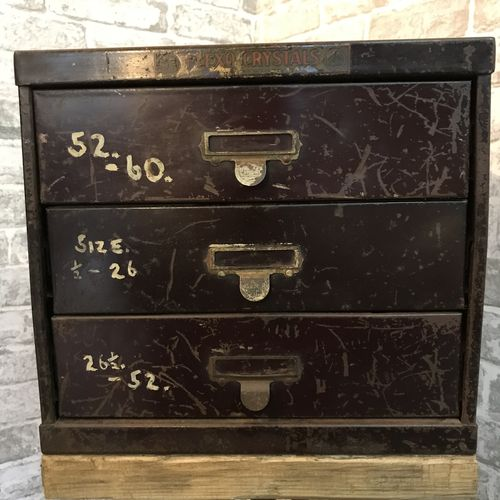 Three Draw Watchmakers Cabinet Side Table.