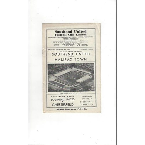 1960/61 Southend United v Halifax Town Football Programme