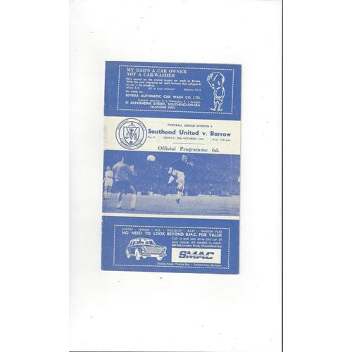 1966/67 Southend United v Barrow Football Programme