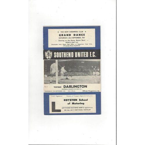 1967/68 Southend United v Darlington League Cup Football Programme