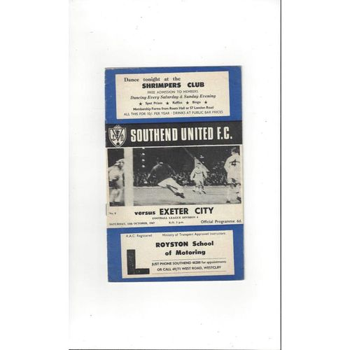 1967/68 Southend United v Exeter City Football Programme