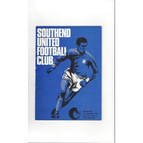 1968/69 Southend United v Brentford Football Programme