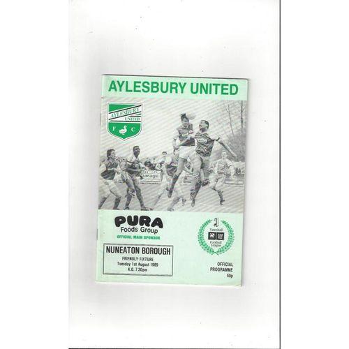 Aylesbury United v Nuneaton Borough Friendly Football Programme 1989/90