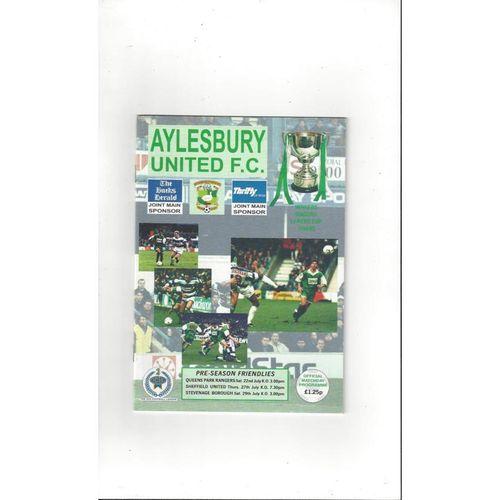 Aylesbury United v QPR, Sheffield United & Stevenage Friendly Programme 1994/95
