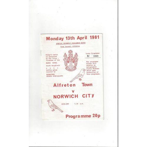 Alfreton Town v Norwich City Friendly Football Programme 1980/81