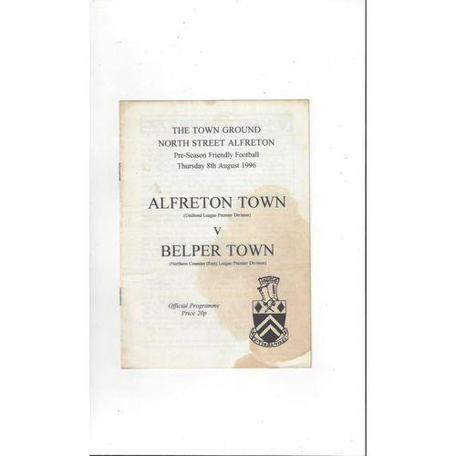 Alfreton Town v Belper Town Friendly Football Programme 1996/97