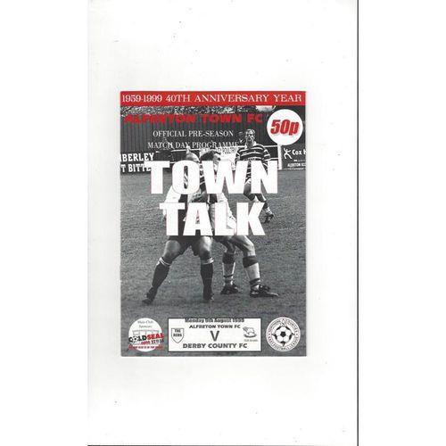 Alfreton Town v Derby County Friendly Football Programme 1999/00