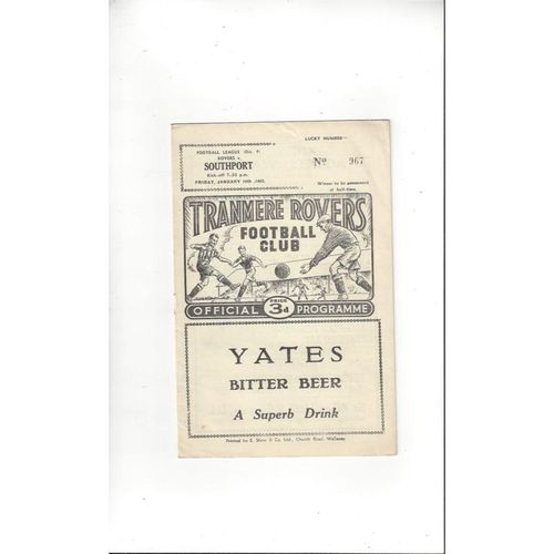 1961/62 Tranmere Rovers v Southport Football Programme