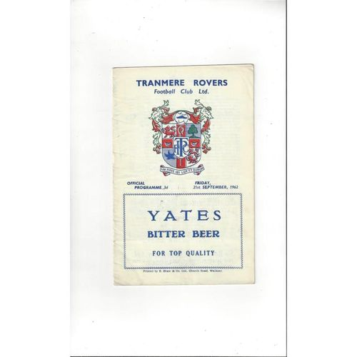 1962/63 Tranmere Rovers v Southport Football Programme
