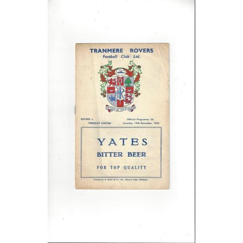 1963/64 Tranmere Rovers v Torquay United Football Programme