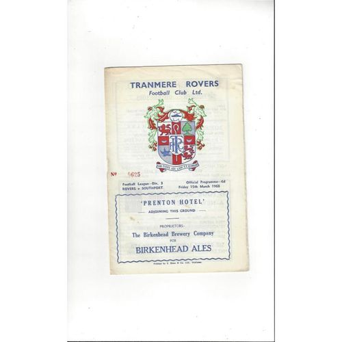 1967/68 Tranmere Rovers v Southport Football Programme
