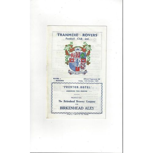 1967/68 Tranmere Rovers v Watford Football Programme