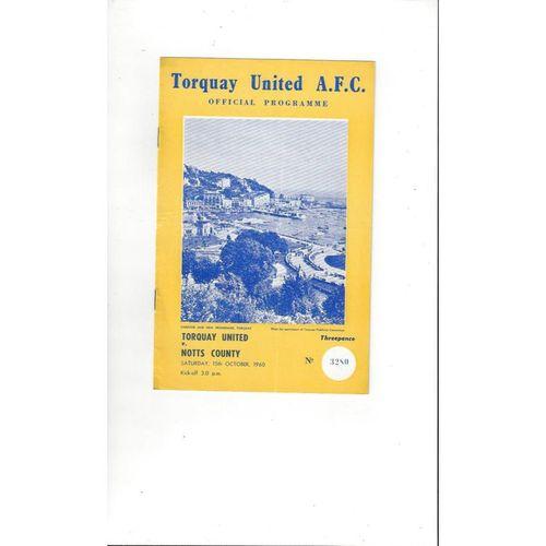 1960/61 Torquay United v Notts County Football Programme