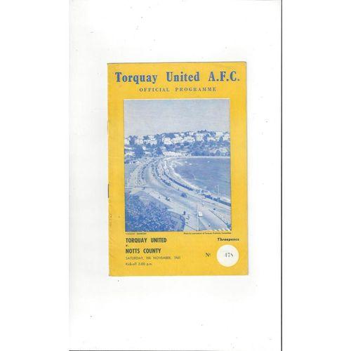 1961/62 Torquay United v Notts County Football Programme
