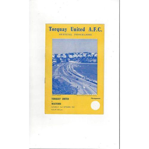 1961/62 Torquay United v Watford Football Programme