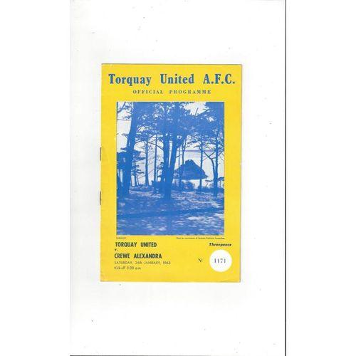 1962/63 Torquay United v Crewe Alexandra Football Programme