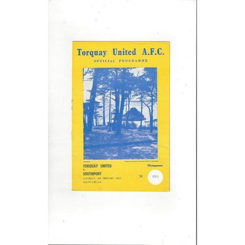 1962/63 Torquay United v Southport Football Programme