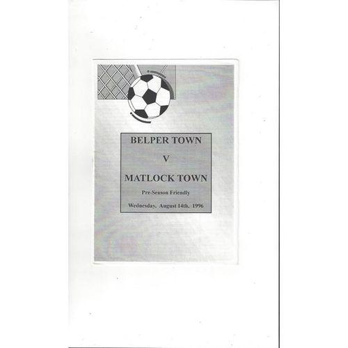 Belper Town v Matlock Town Friendly Programme 1996/97