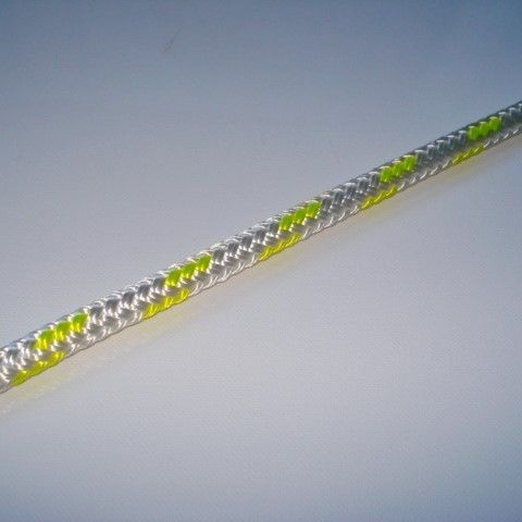 10MM Double Braid Polyester. White with Yellow Fleck