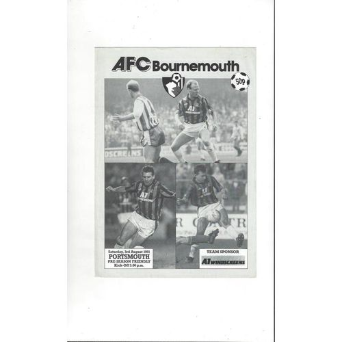 Bournemouth v Portsmouth Friendly Football Programme 1991/92