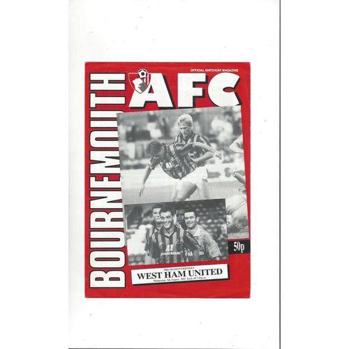 Bournemouth v West Ham United Friendly Football Programme 1992/93