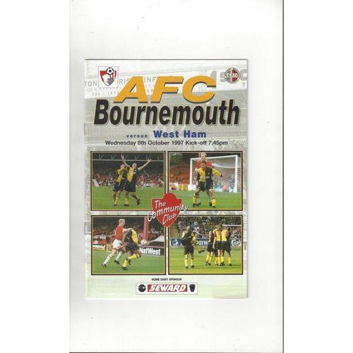 Bournemouth v West Ham United Friendly Football Programme 1997/98