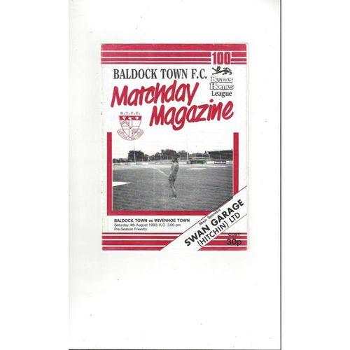 Baldock Town v Wivenhoe Town Friendly Football Programme 1990/91