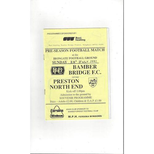 Bamber Bridge v Preston Friendly Football Programme 1991/92