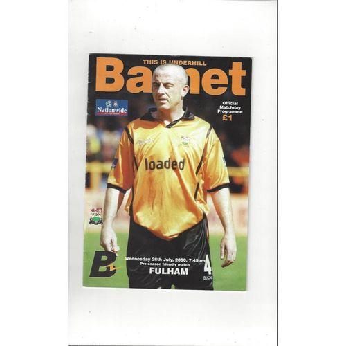 Barnet v Fulham Friendly Football Programme 2000/01