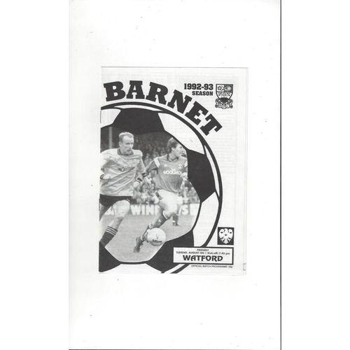 Barnet v Watford Friendly Football Programme 1992/93