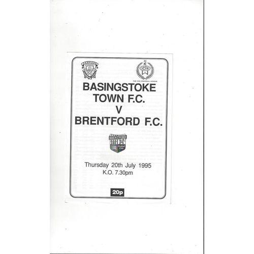 Basingstoke Town v Brentford Friendly Football Programme 1995/96
