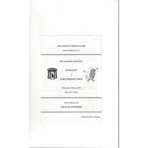 Bath City v Cheltenham Town Friendly Football Programme 1993/94