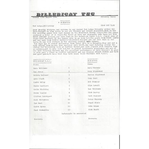 Billericay v Alexandra Friendly Football Programme 1984/85