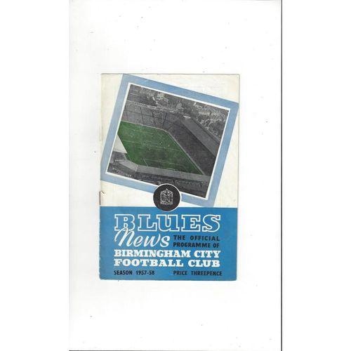 Birmingham City v Sampdoria Friendly Football Programme 1957/58