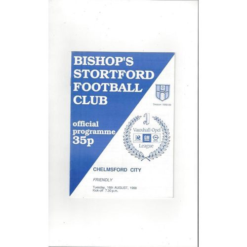 Bishops Stortford v Chelmsford City Friendly Football Programme 1988/89