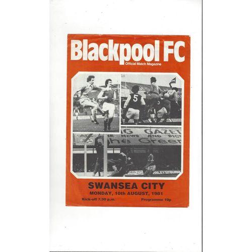 Blackpool v Swansea Friendly Football Programme 1981/82