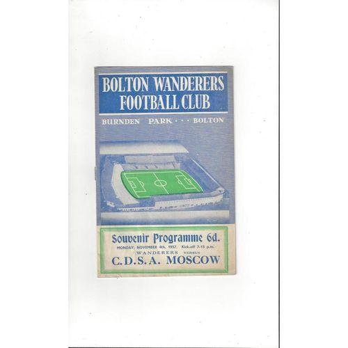 Bolton Wanderers v CDSA Moscow Friendly Football Programme 1957/58