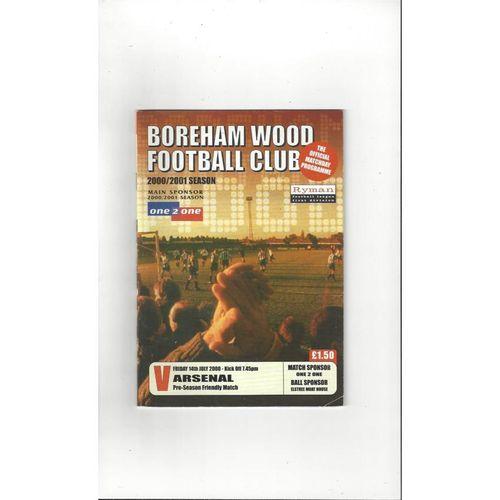 Boreham Wood v Arsenal Friendly Football Programme 2000/01