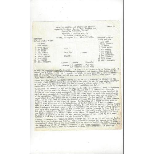Brentford v Charlton Athletic Friendly Football Programme 1979/80