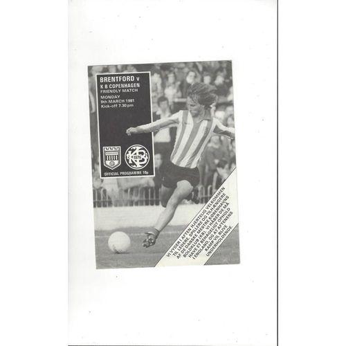 Brentford v K B Copenhagen Friendly Football Programme 1980/81