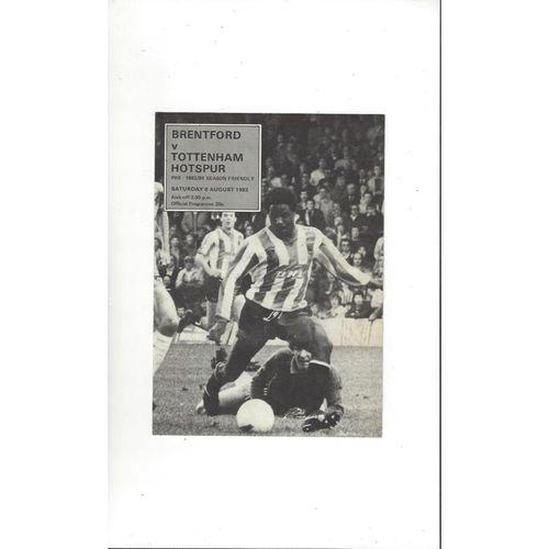 Brentford v Tottenham Hotspur Friendly Football Programme 1983/84