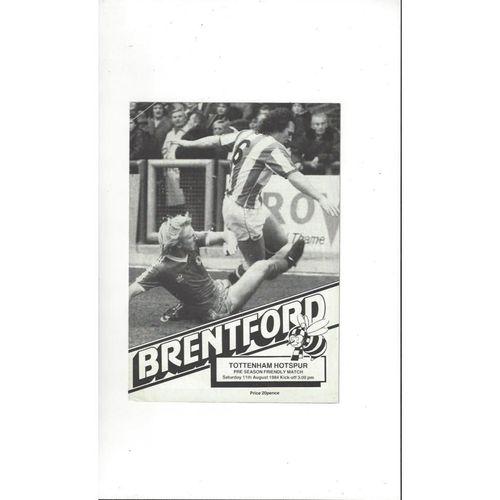 Brentford v Tottenham Hotspur Friendly Football Programme 1984/85