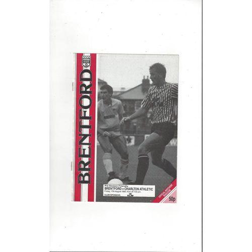 Brentford v Charlton Athletic Friendly Football Programme 1990/91
